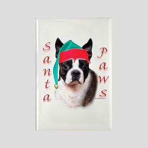 Santa Paws Boston Terrier Rectangle Magnet