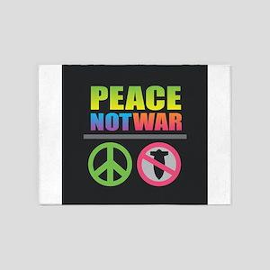 Peace Not War Rainbow 5'x7'Area Rug