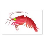 Deep Sea Red Shrimp Sticker (Rectangle 50 pk)