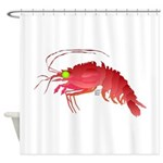 Deep Sea Red Shrimp Shower Curtain