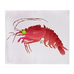 Deep Sea Red Shrimp Throw Blanket