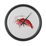 Deep Sea Red Shrimp Large Wall Clock