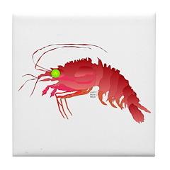 Deep Sea Red Shrimp Tile Coaster