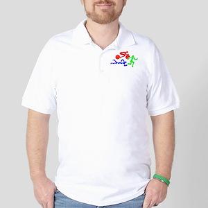 Triathlon Color Figures 3D Golf Shirt