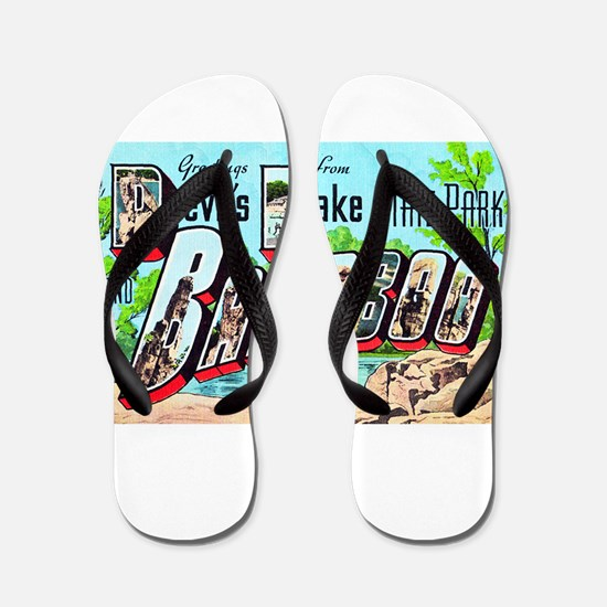 Baraboo Wisconsin Greetings Flip Flops