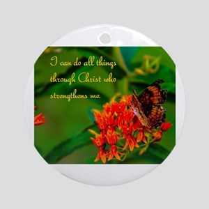 All Things Through Christ Butterfly Ornament (Roun