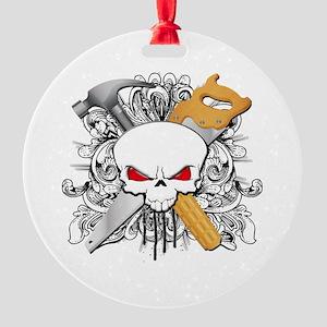 Handyman Skull Round Ornament
