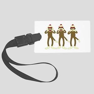 No Evil Sock Monkeys Large Luggage Tag