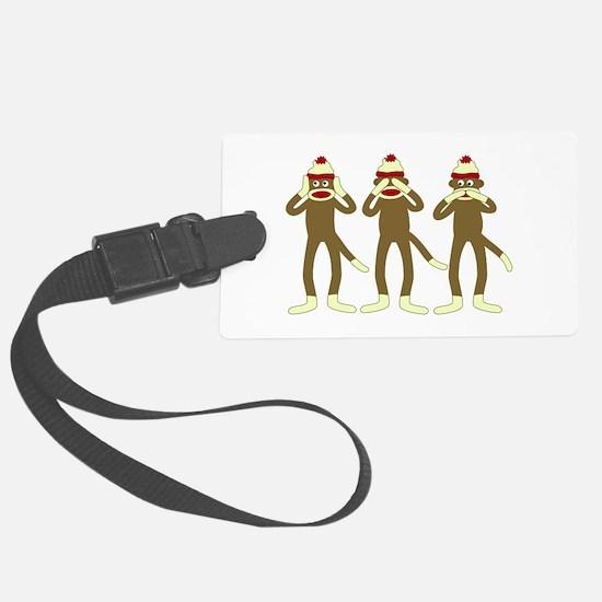 No Evil Sock Monkeys Luggage Tag