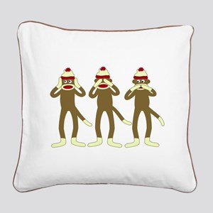 No Evil Sock Monkeys Square Canvas Pillow