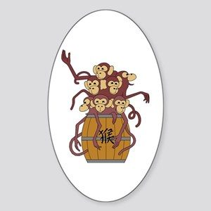Funny Year of The Monkey Sticker (Oval)