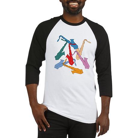 Colorful Saxophones Baseball Jersey