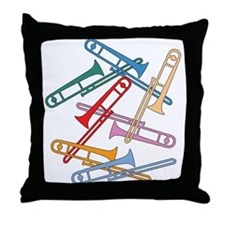 Colorful Trombones Throw Pillow