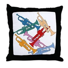 Colorful Trumpets Throw Pillow