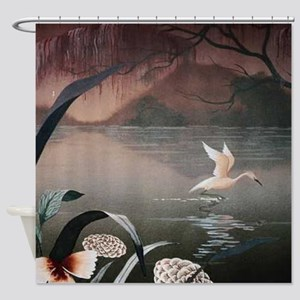 Swan Flying Over Water Shower Curtain