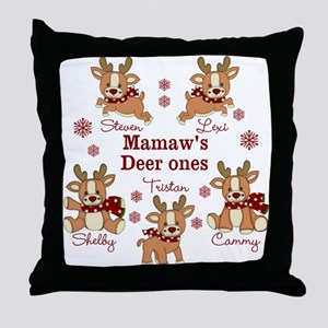 Custom deer grand kids Throw Pillow