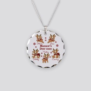 Custom deer grand kids Necklace Circle Charm