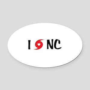 I LOVE NC Oval Car Magnet