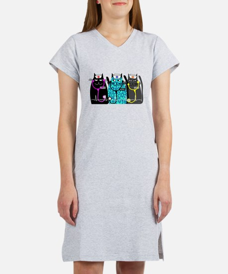 nurse cat NO BACKGROUND.PNG Women's Nightshirt