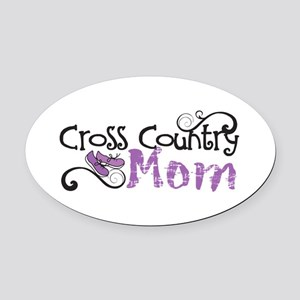 Cross Country Mom Oval Car Magnet