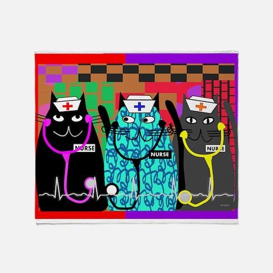 nurse cat blanket.PNG Throw Blanket