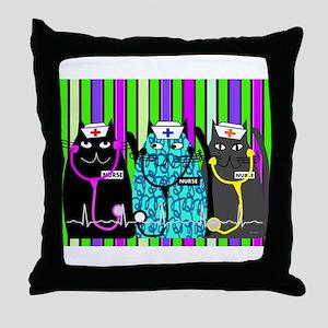 nurse cat blanket 2 stripes Throw Pillow