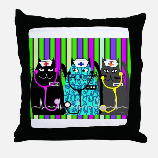 nurse cat blanket 2 stripes.PNG Throw Pillow
