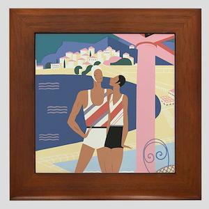 Art Deco Beach Scene Framed Tile
