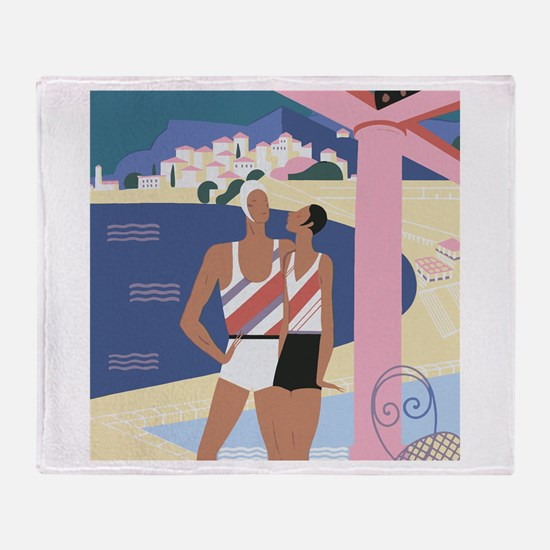 Art Deco Beach Scene Throw Blanket