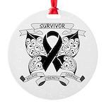Survivor Strength Melanoma Round Ornament