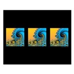 3 Waves Black: Small Poster