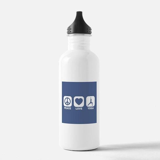 PEACE LOVE YOGA IN BLUE Water Bottle