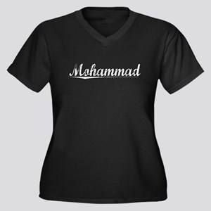 Mohammad, Vintage Women's Plus Size V-Neck Dark T-