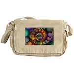 Textured Fractal Spiral Messenger Bag