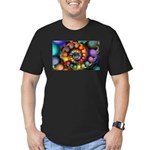 Textured Fractal Spiral Men's Fitted T-Shirt (dark