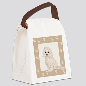 Cockapoo Painting Paw Print Frame Canvas Lunch Bag