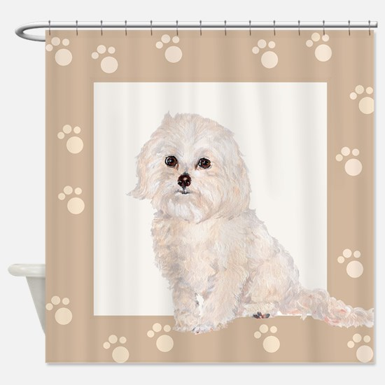 Cockapoo Painting Paw Print Frame Shower Curtain