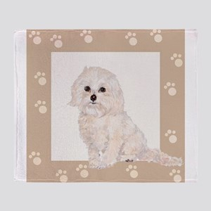Cockapoo Painting Paw Print Frame Throw Blanket