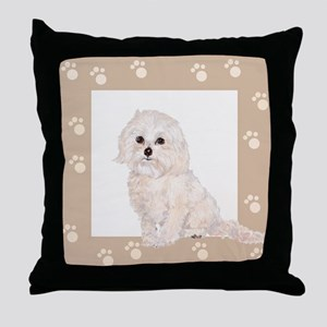 Cockapoo Painting Paw Print Frame Throw Pillow