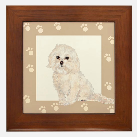 Cockapoo Painting Paw Print Frame Framed Tile