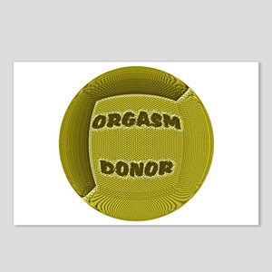 ORGASM DONOR YELLOW ROUND Postcards (Package of 8)