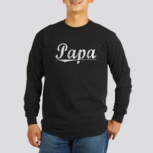Papa, Vintage Long Sleeve Dark T-Shirt