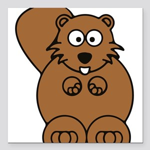"Front facing beaver Square Car Magnet 3"" x 3"""