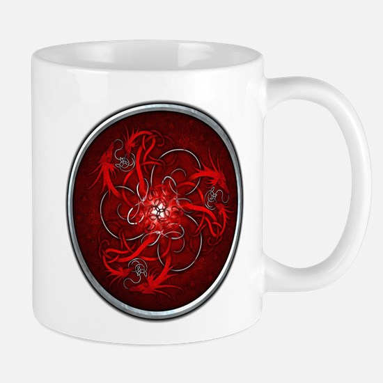 Red Triple Celtic Dragons Mug