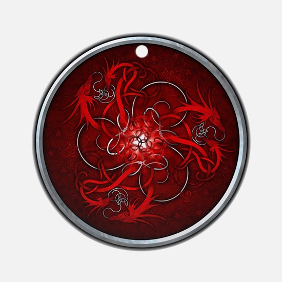 Red Triple Celtic Dragons Ornament (Round)