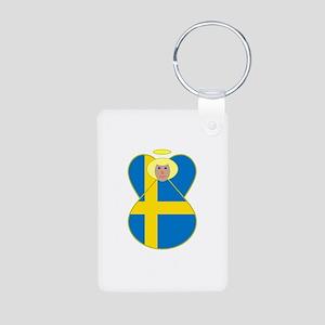 Small Swedish Flag Angel Blonde Hair Aluminum Phot