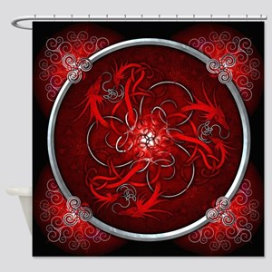 Red Triple Celtic Dragons Shower Curtain