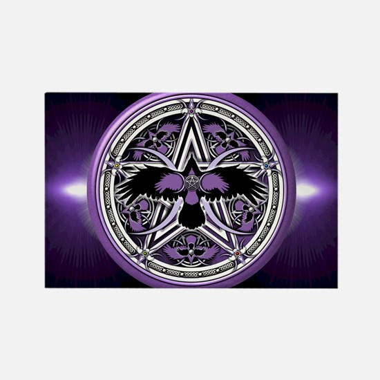 Purple Crow Pentacle Rectangle Magnet