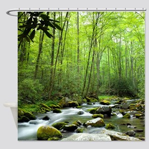 Spring Forest Stream Shower Curtain