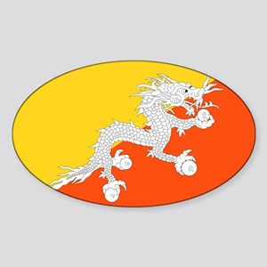 Bhutan - National Flag - Current Sticker (Oval)